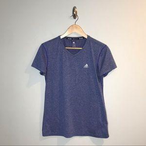 Adidas Blue V-Neck Climalite T-Shirt Athletic Top